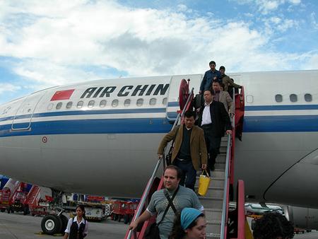 baixant de l'avió